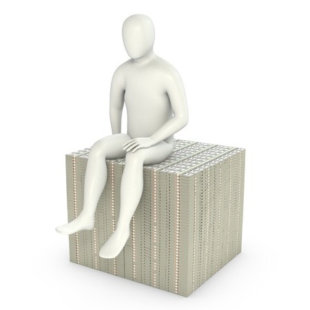 Abstract white man sits on pack of dollars, isolated on white background photo