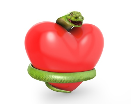 Green cobra on a red heart, isolated on white background photo