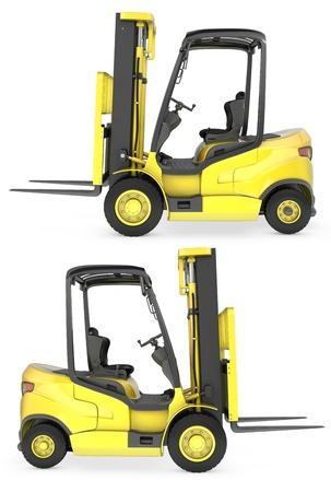 montacargas: Ascensor tenedor camión amarillo vista lateral, aislado en fondo blanco Foto de archivo