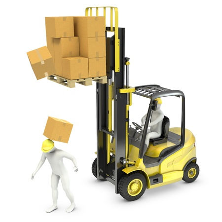 Worker was hit by cardoard falling from lift truck fork, isolated on white background