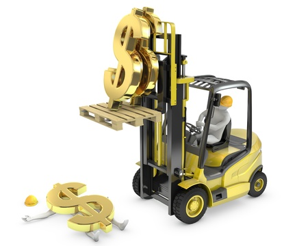 Dollar sign fell from fork lift truck and hit worker, isolated on white background