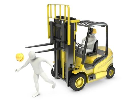 accidente laboral: Hombre blanco Resumen sufri� tenedor de carretillas elevadoras, debido a la violaci�n de seguridad, aislados en fondo blanco Foto de archivo