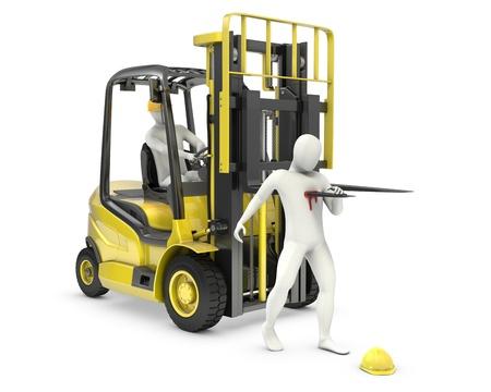accidente laboral: Hombre blanco Resumen result� herido por tenedor de carretillas elevadoras, debido a la violaci�n de seguridad, aislados en fondo blanco Foto de archivo