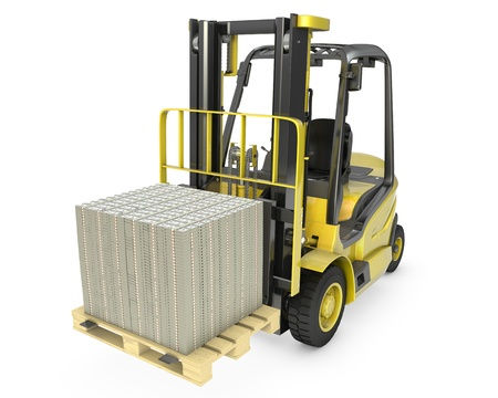 Yellow fork lift truck moves stacked dollars, isolated on white background photo