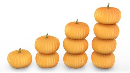 three orange: Graph made of orange pumpkins isolated on white background