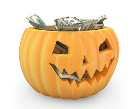jack pack: Holiday pumpkin jack lantern full of dollars isolated on white background Stock Photo