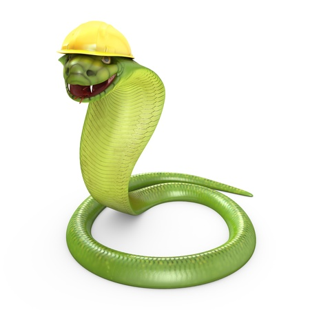Green cobra bent in a yellow helmet, isolated on white background photo