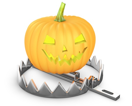 bear trap: Pumpkin jack lantern in a bear trap isolated on white background