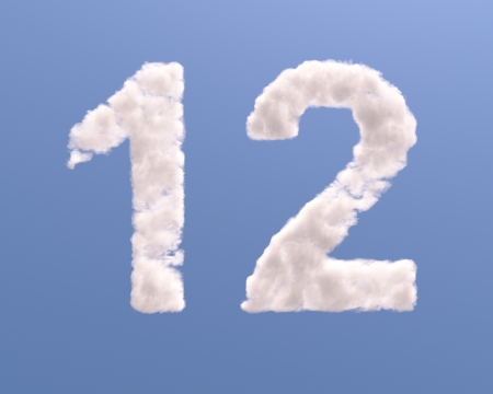 Number 1 and 2 cloud shape, isolated on white background Standard-Bild