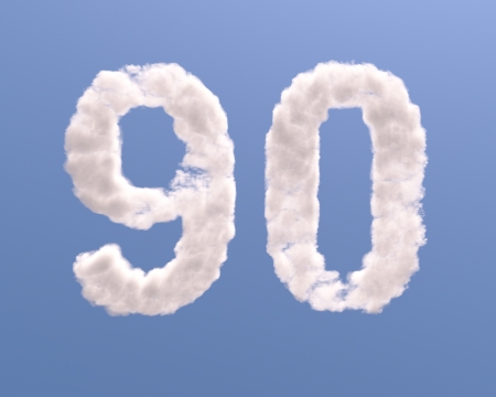on cloud nine: Number 9 and 0 cloud shape, isolated on white background Stock Photo