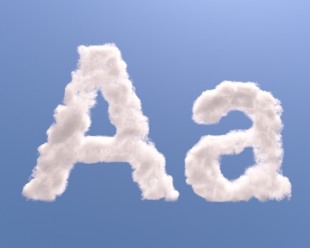 Letter A cloud shape, isolated on white background photo