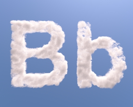 Letter B cloud shape, isolated on white background Stock Photo - 15406273