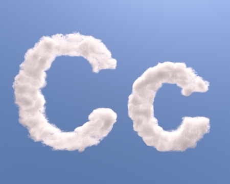 Letter C cloud shape, isolated on white background