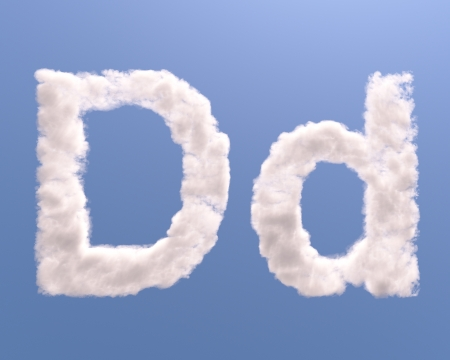 d: Letter D cloud shape, isolated on white background