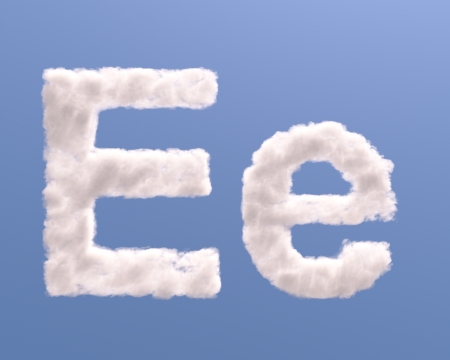 Letter E cloud shape, isolated on white background