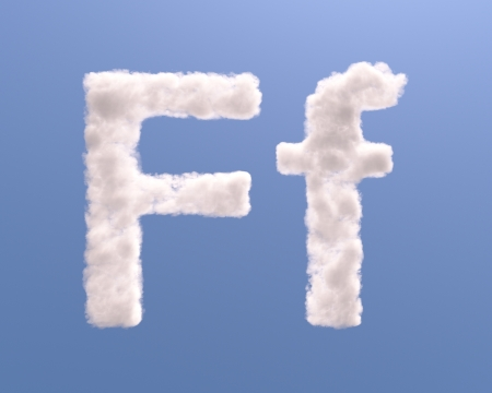 Letter F cloud shape, isolated on white background photo