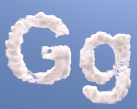 Letter G cloud shape, isolated on white background