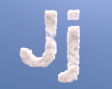 Letter J cloud shape, isolated on white background photo