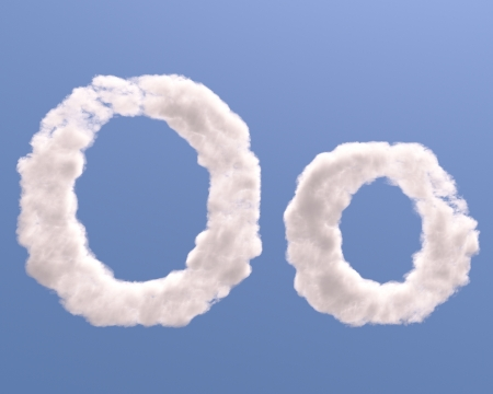 Letter O cloud shape, isolated on white background