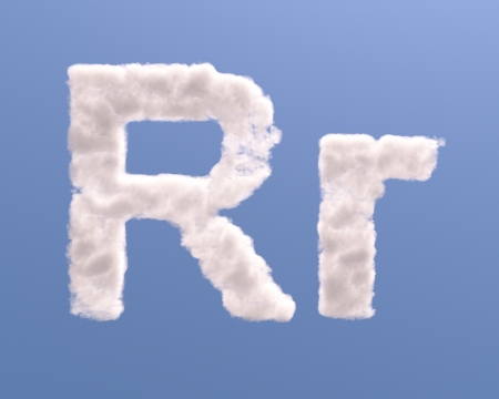 Letter R cloud shape, isolated on white background