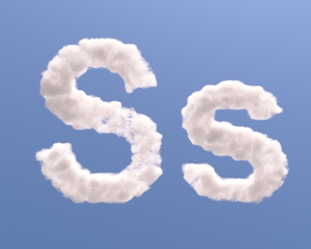 Letter S cloud shape, isolated on white background photo