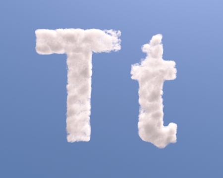 Letter T cloud shape, isolated on white background photo