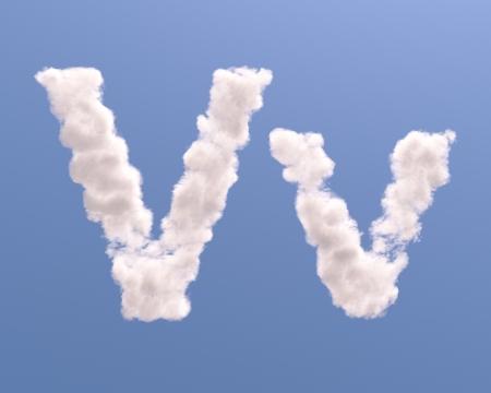 v shape: Letter V cloud shape, isolated on white background Stock Photo