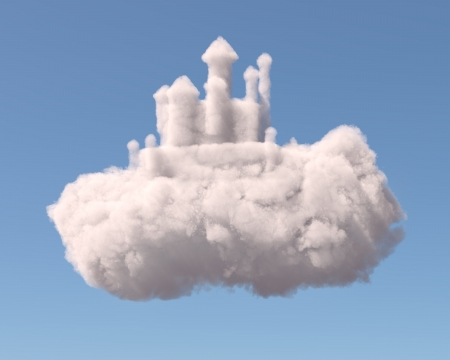 Castle in the clouds, isolated on white background