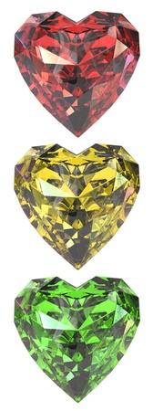 corazon cristal: Rub� en forma de coraz�n de color como sem�foro, aislados en fondo blanco