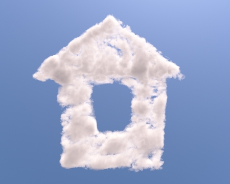House shape clouds, isolated on white background Stock Photo - 15406371