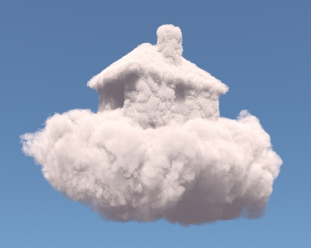 day dream: House shape clouds, isolated on white background