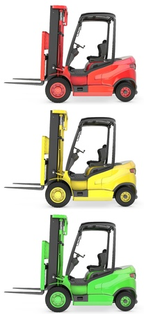 Three fork lift trucks colored as traffic lights, isolated on white background photo