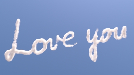 Love you text in sky, isolated on blue photo