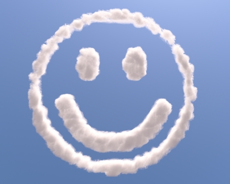 shaped: Smiley face in clouds, isolated on blue background