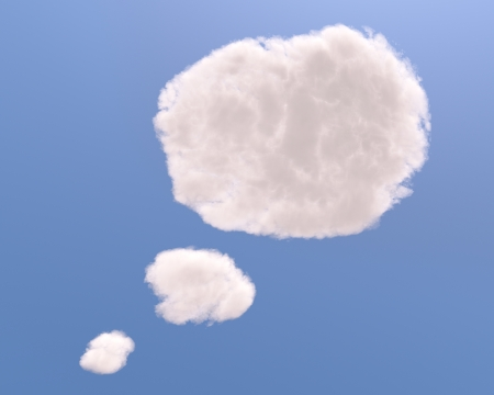 clean air: Text bubble cloud shape, isolated on white background Stock Photo