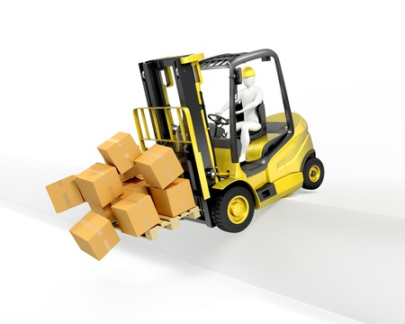 Fork lift truck falling from loading dock, isolated on white background photo