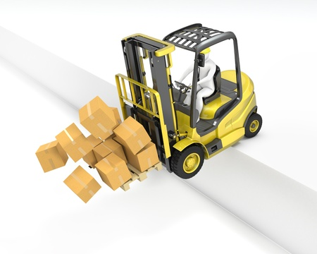 norms: Fork lift truck falling from loading dock, isolated on white background