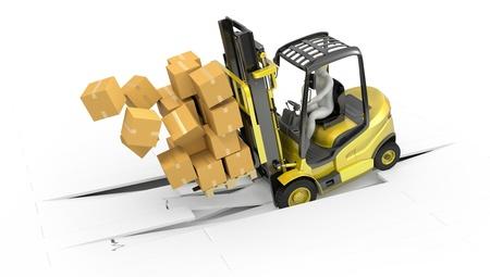 accidente trabajo: Tenedor carretilla elevadora con la carga pesada estrell�ndose a trav�s de suelo, aislados en fondo blanco Foto de archivo