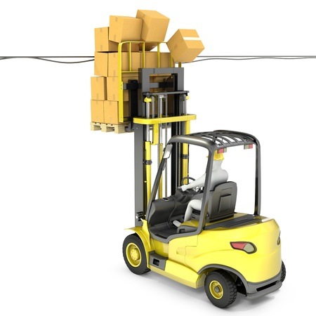Fork lift truck with high load hits wires, isolated on white background Standard-Bild