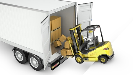 Fork lift truck falling from unsecured semi trailer, isolated on white background