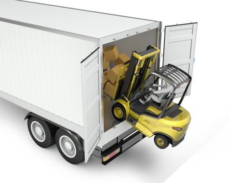 accident de travail: Chariot �l�vateur � fourche passant de semi-remorque non garantis, isol� sur fond blanc Banque d'images