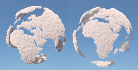 Cloud globe, Europe and africa, isolated on blue photo