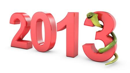 Green cobra 2013 new year symbol, isolated on white background photo