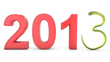 Green cobra 2013 symbol, isolated on white background photo