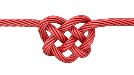 string together: Red heart shaped knot, isolated on white background