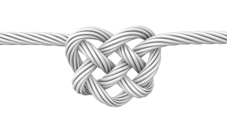 string together: White heart shaped knot, isolated on white background Stock Photo