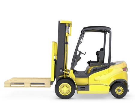 Yellow fork lift truck with pallet, isolated on white background photo