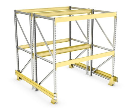 Double sided pallet rack, isolated on white background Standard-Bild