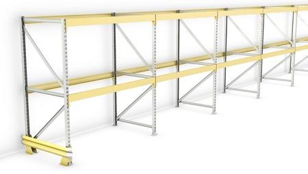 Row of pallet racks, isolated on white background Standard-Bild