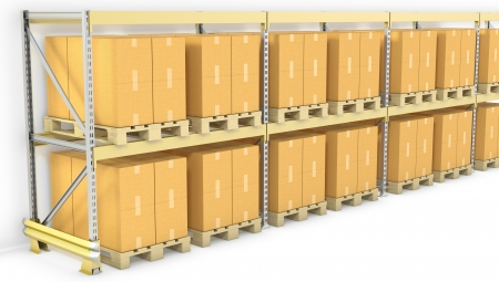Row of pallet racks with boxes, isolated on white background photo